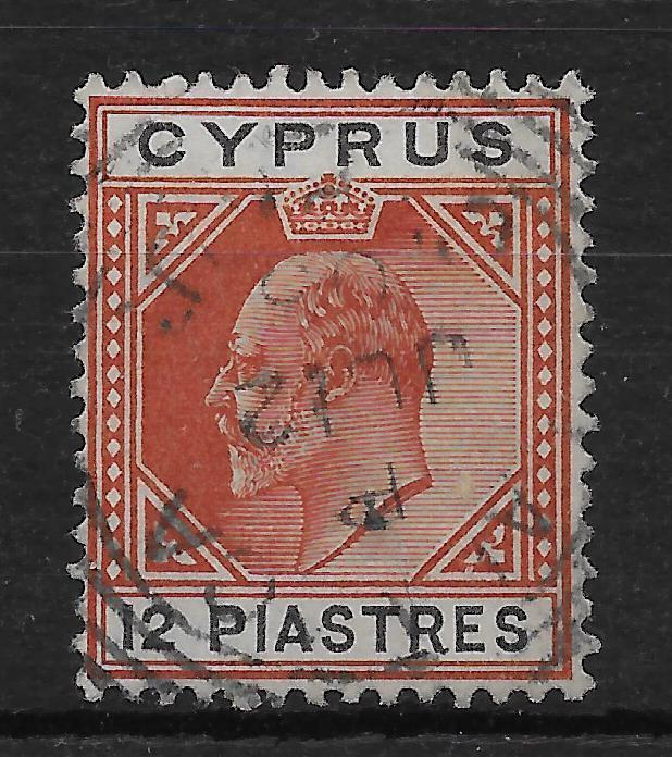 CYPRUS SG57 1903 12pi CHESTNUT & BLACK USED
