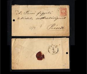 1874 - Hungary Prepaid cover - Postal stationery - To Peizeth [B07_096]