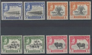 PAKISTAN BAHAWALPUR 1948 Sc 2-5 TWO EACH SHADES MNH F,VF SCV$16.00+