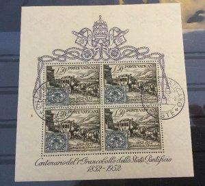 Vatican City Sc# 155a CTO 1952 Souvenir Sheet CV $160