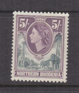 NORTHERN RHODESIA, 1953 QE 5s. Grey & Dull Purple, lhm.