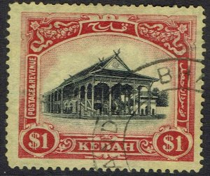 KEDAH 1921 HOUSE $1 WMK MULTI SCRIPT CA CROWN TO RIGHT USED