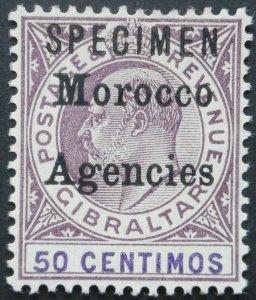 Morocco Agencies 1903 EVI Fifty Centimos opt SPECIMEN SG 21s mint