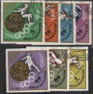 Mongolia 699-705 (used cto, set of 7 without s/s) Munich Olympics (1972)