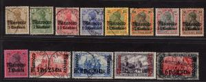 $Germ. Off. in Morocco Sc#20-32 Mi 21-33 used-mint/H/VF, complete set, cv. $480