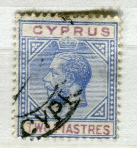CYPRUS; 1912 early GV issue fine used 2Pi. value