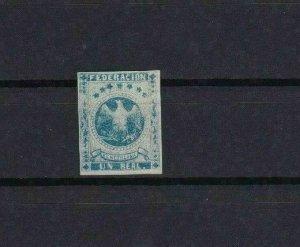 VENEZUELA 1863 IMPERF STAMP MOUNTED MINT 1 REAL  BLUE CAT £24   REF 6254