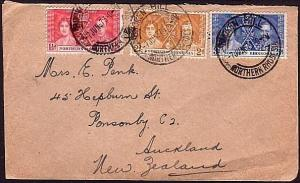 NORTHERN RHODESIA 1937 Coronation set on cover BROKEN HILL to New Zealand..34275