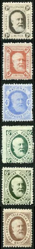 1884 Telephone Stamps set of 6 (both 6ds) m/mint