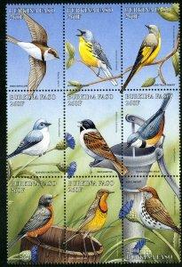BURKINA FASO 1105a-f BLOCK9 SCV $13.50 BIN $6.75 BIRDS