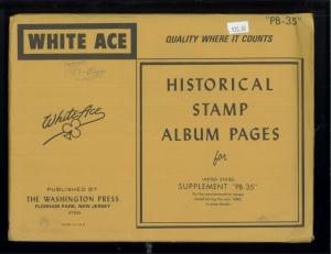 1983 White Ace U.S. Commemorative Issue Plate Block Stamp Supplement Pages PB-35