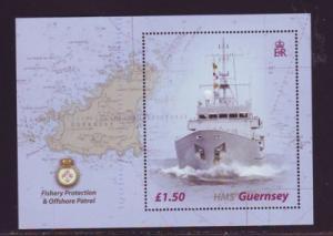 Guernsey Sc 807 2003 HMS Guernsey stamp sheet NH