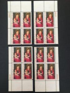 Scott #1336 Christmas Madonna and Child Matched Plate Blocks MNH