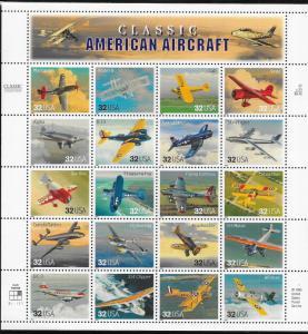 US#3142  32c American Aircraft  Sheet of 20 (MNH) CV $13.00