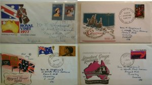 Australia FDC 1970 Railway & Royal Tour QE II & 1977 Royal Visit & Xmas