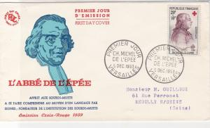 France 1959 CH. Michel De L'Epee Pic Slogan Cancels + Stamp FDC Cover Ref 31717