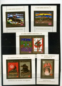 EQUATORIAL GUINEA 1976 SUMMER OLYMPIC GAMES MONTREAL SET OF 5 S/S GOLD FOIL MNH