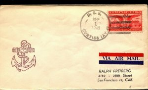USS CURTISS AV-4  CACHET NAVAL COVER with 6c AIRMAIL STAMP F