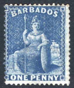 Barbados 1874 1d Deep Blue Perf 14 Wmk Large Star SG 66 Sc 45 MH Cat £130($160)