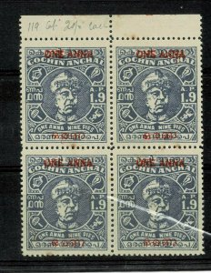 india cochin sg no 120 block of 4 lmm