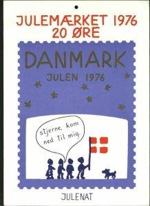 Denmark. Christmas Seal.1976. 1 Post Office,Display,Advertising Sign. Stars,Flag