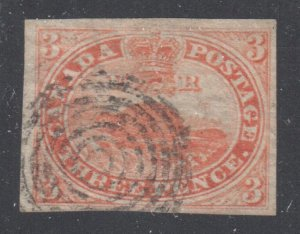 Canada Used #1 XF Beaver Imperforated C$1600.00 LAID LINES