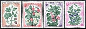 St Pierre & Miquelon 400-403, MNH. Blackberries, Strawberries, Raspberries, 1970