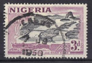 Nigeria 1953  used   3d.  Jebba bridge    #