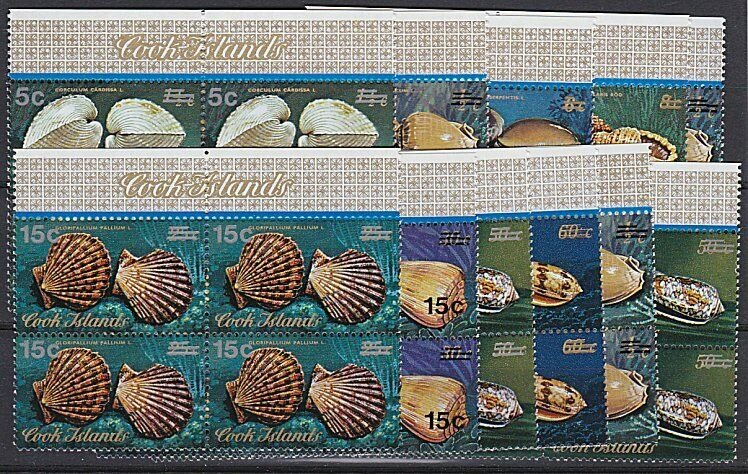 COOK IS 1978 Shells definitive overprint set MNH blocks of 4................B112