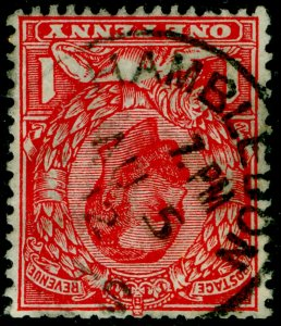SG332 SPEC N9a(3), 1d bright scarlet, FINE USED, CDS. Cat £18. WMK INVERTED.