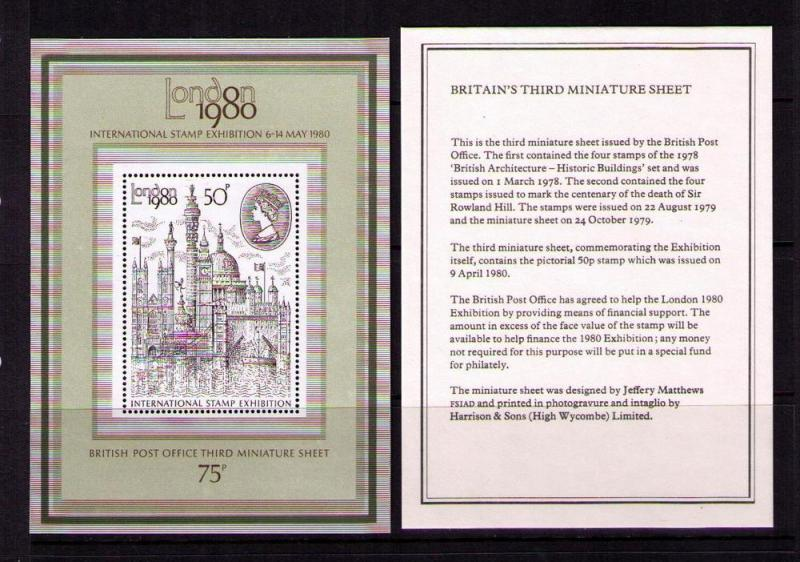 GREAT BRITAIN Sc# 909a MNH VF SS W/ Info Card View of London / HipStamp
