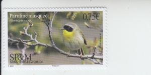 2017 St Pierre & Miquelon Hooded Warbler (Scott 1042) mnh