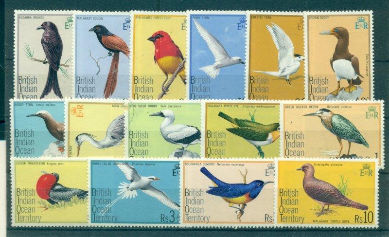 B.I.O.T. - Sc# 63-77. 1975 Birds. Never Hinged. $35.25.