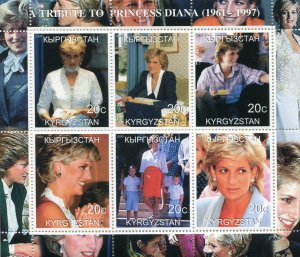 Kyrgyzstan 2000 PRINCESS DIANA Sheet Perforated Mint (NH)