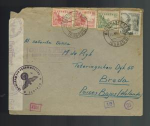 1942 Spain Miranda de Ebro Concentration camp cover to Netherlands WAH Melissen