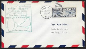 UNITED STATES #C7 on First Flight Cover 1928 Lansing to Bay City