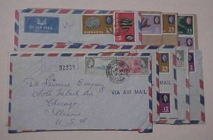 BARBADOS  10 REGISTERED SMALL COVER 1960's TO USA