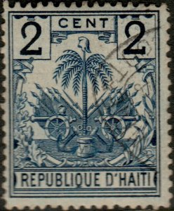 HAÏTI - 1890s Mi.29 2c blue Palm Tree used DUTCH SHIP CANCEL