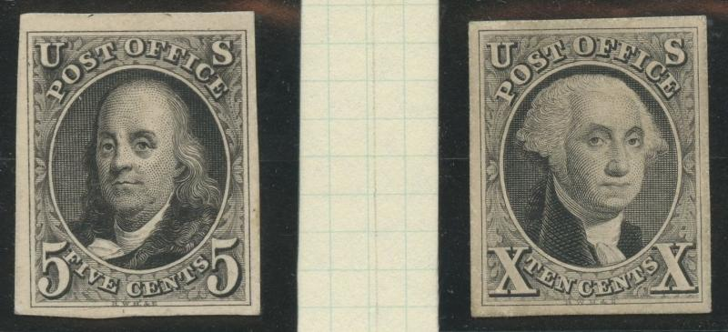 #1TC2, 2P3 5¢, 10¢ 1847 SET BLACK PROOFS -- XF GEMS -- CV $1,900+ WLM5939