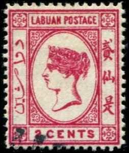 Labuan SC# 42 Victoria 2c used unwmked bright rose