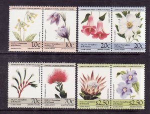 Bequia-Grenadine of St Vincent-Sc#194-7-unused NH set-Flowers-Flora-1985-