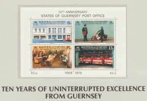 Guernsey 10th  Anniversary States of Guernsey Post Office SS MNH