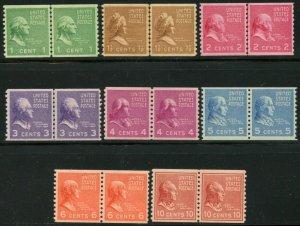 US Sc#839-843, 845-851 1939  Presidential Coil Pairs VF-XF Centering OG MH
