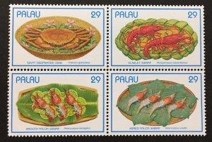 Palau 1992 #314 Block of 4, Seafood, MNH.