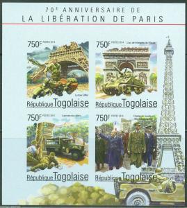 TOGO 2014 70th ANN LIBERATION OF PARIS CHARLES deGAULLE  CHURCHILL SHEET  IMP NH