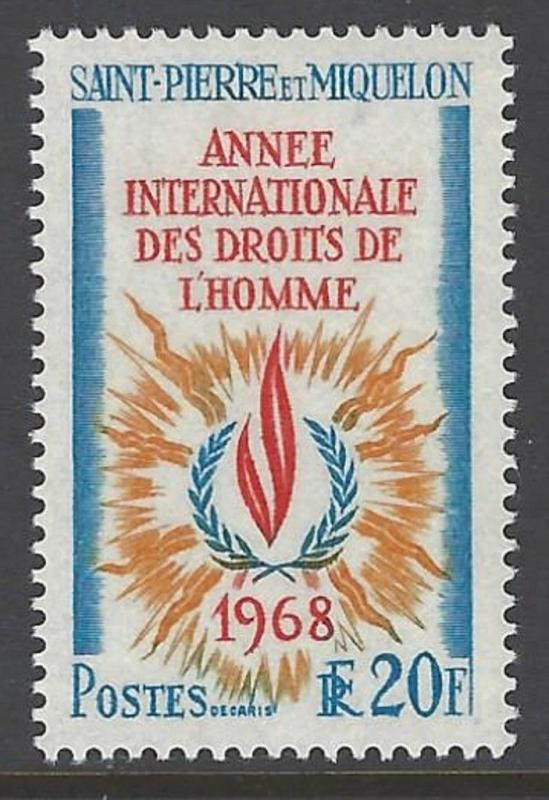 St. Pierre & Miquelon 1968 Human Rights VF MNH (382)