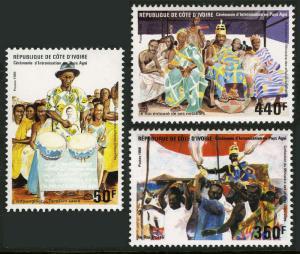 Ivory Coast 799-801, MI 925-927, MNH.Enthronement of a Chief,Agni District, 1986