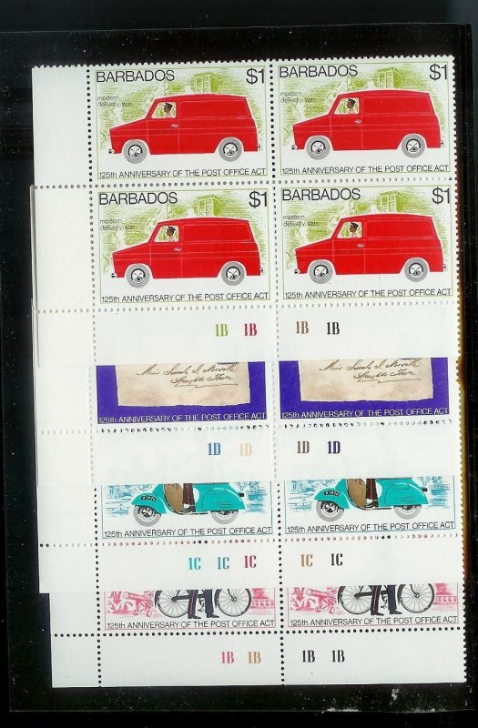 BARBADOS Sc#444-447 Complete Mint Never Hinged PLATE BLOCK Set