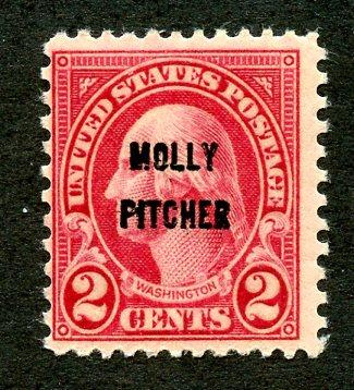 U.S. Scott 646 1928 F Unused 2-Cent Molly Pitcher/Battle of Monmouth Issue
