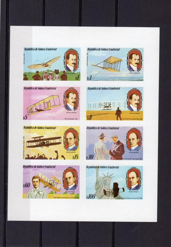 Equatorial Guinea 1979 Mi#1460/1467 WRIGHT BROTHERS Sheetlet Imperforated MNH